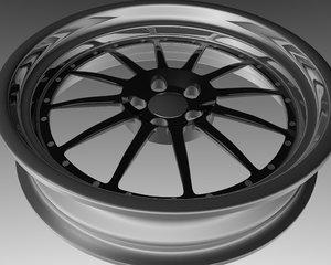 free 5 rim wheel 3d model