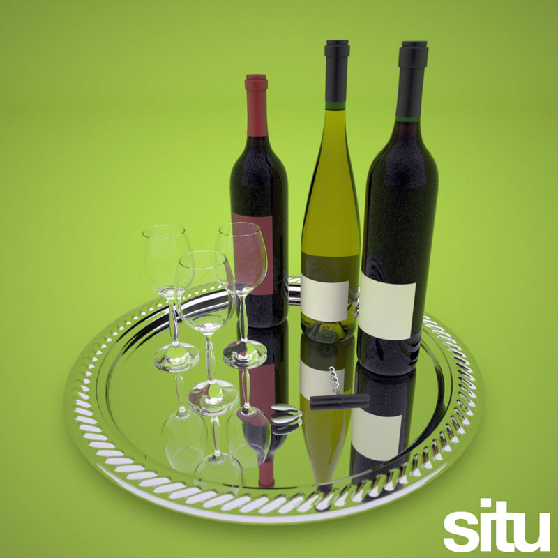 3ds max wine bottles glasses tray
