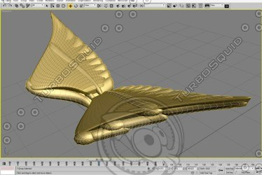 3d model gold wings flying
