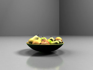 3d realistic bowl fruit