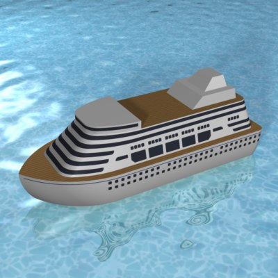 3d stylized cartoon cruise ship
