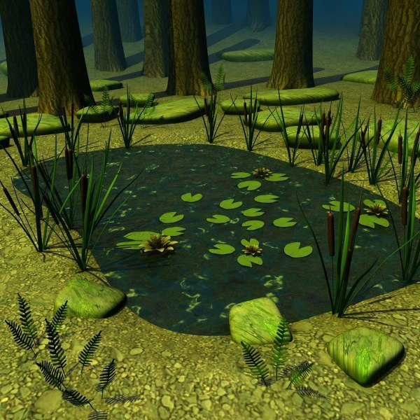 forest pond 3d max