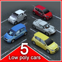 5 LowPoly Economy Cars