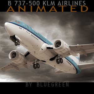 3d 737-500 plane klm