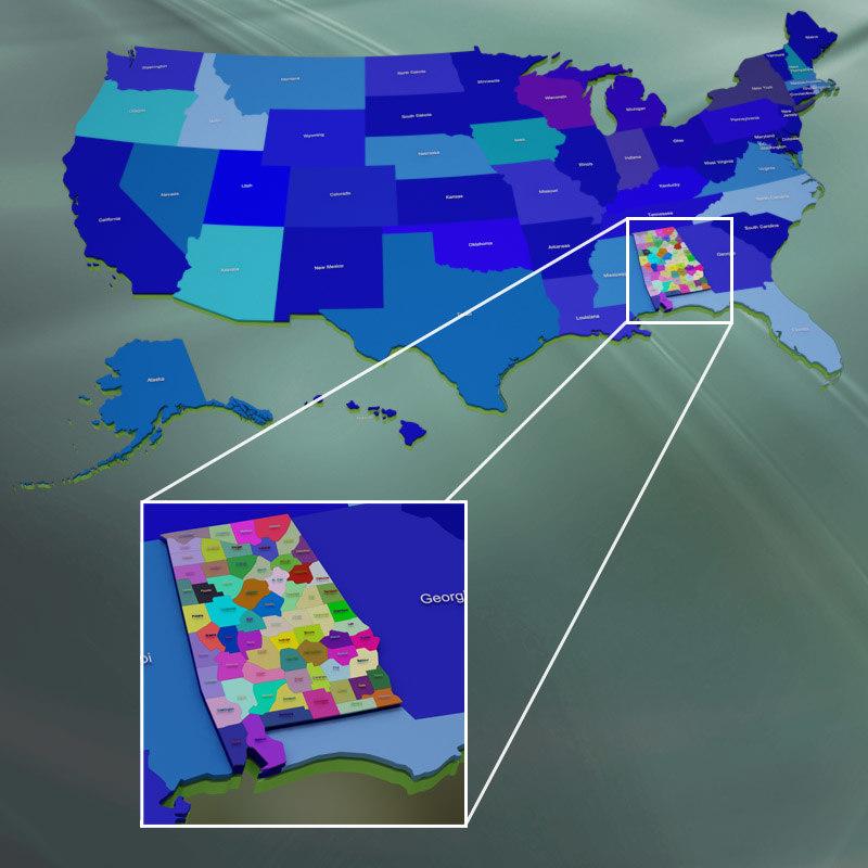 3d model usa alabama counties