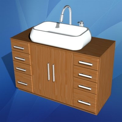 3d model of bathroom sink cabinet
