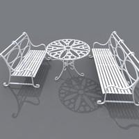 3d model set wrought iron