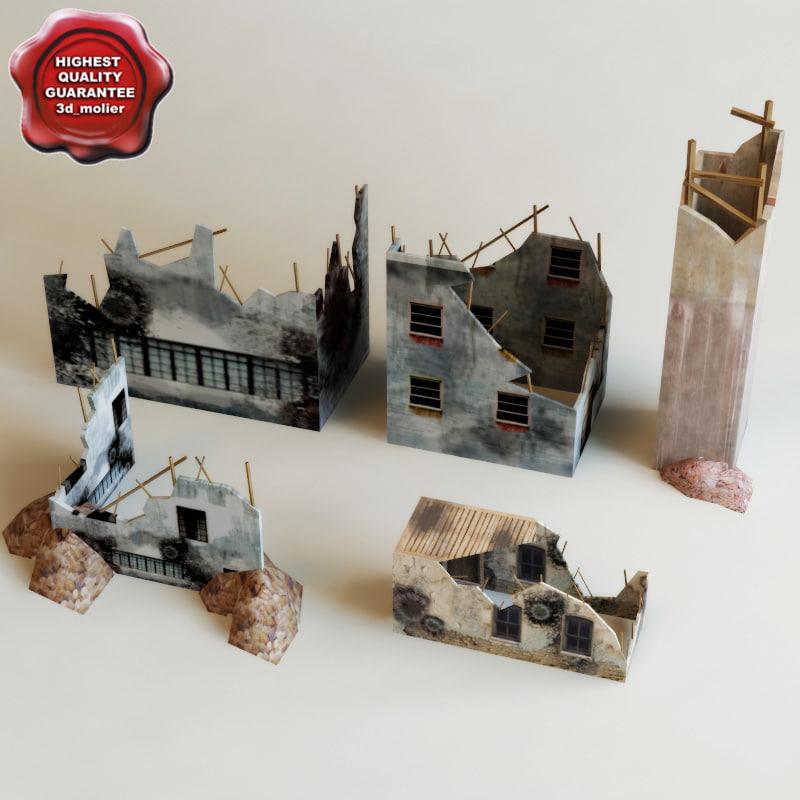 destroyed houses games 3d c4d
