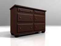 3d model dark wood dresser