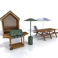 3d garden set model