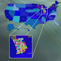 usa indiana counties 3d max