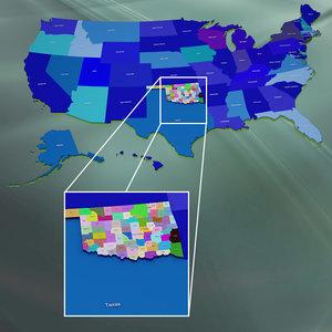 usa oklahoma counties 3d model