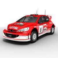 3d peugeot 206 wrc rallycar model