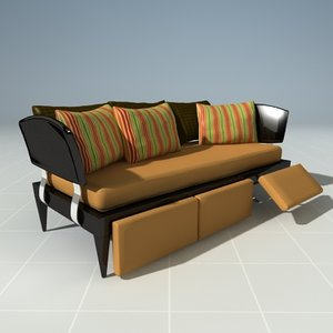 reclining day bed couch 3d model