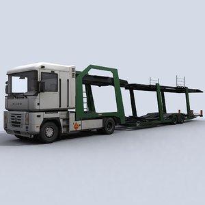 3d car transporter truck model