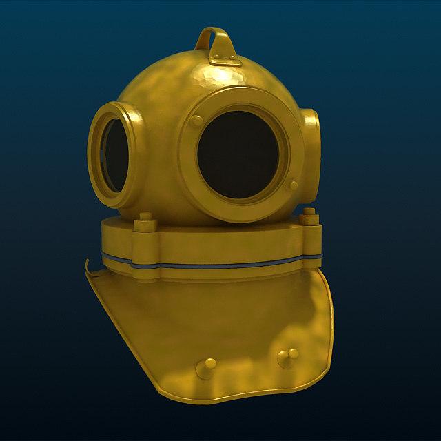 threebolt divers helmet 3d 3ds