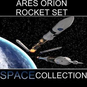 set rockets ares orion 3d model