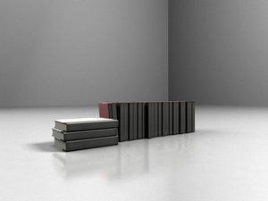 3d model books stacked