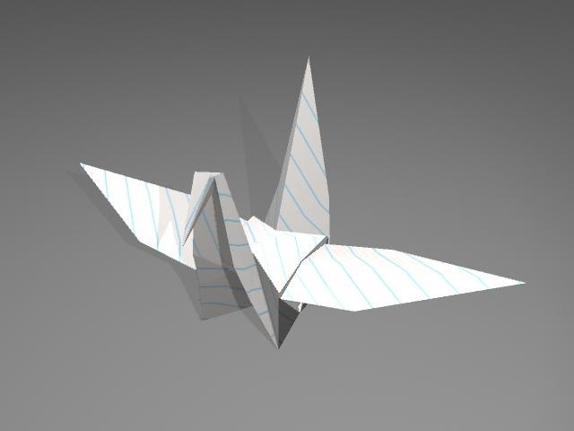 3d origami crane model