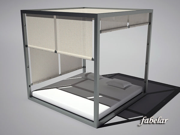3d model four-poster bed