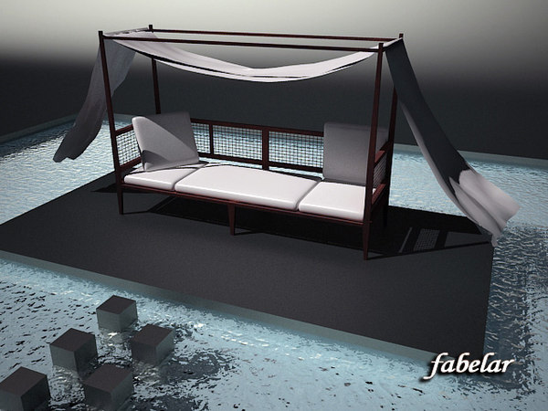 3d four-poster bed