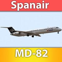 md-82 aircraft spanair 3d max