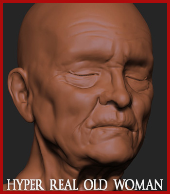 3d hyper-real old woman anatomy