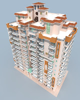 3d model residential apartment building