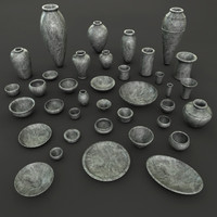 Ancient Egypt Stone Pottery tableware 37 Pcs