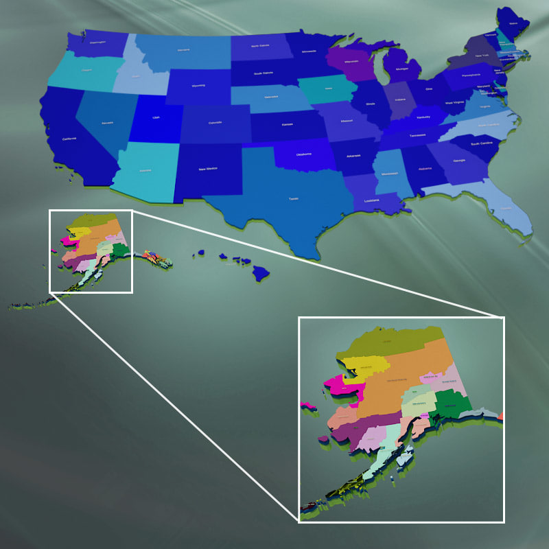 usa alaska counties 3d model