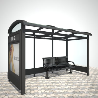 bus stop shelter street 3d ma