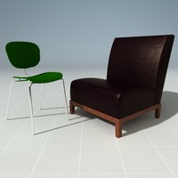 3d cafe chairs model
