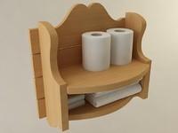 3d country bathroom storage shelf