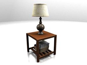 wood endtable 3d max