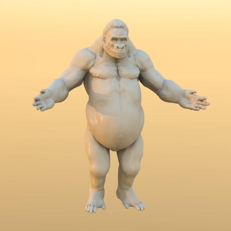 gorilla normal maps 3d obj