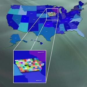 3d usa iowa counties model
