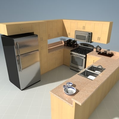 3d kitchen set model for Model kitchen set sederhana