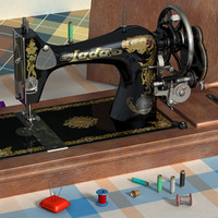 3d old sewing machine model