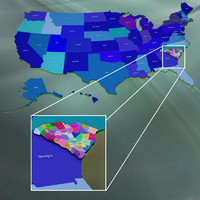 usa counties 3d max