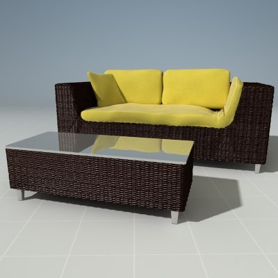 3d model wicker couch ottoman