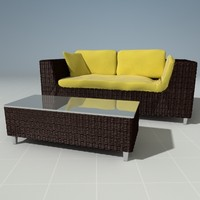 3d model wicker couch ottoman