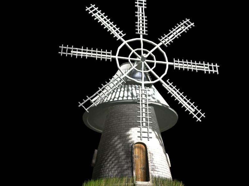3d ancient windmill model