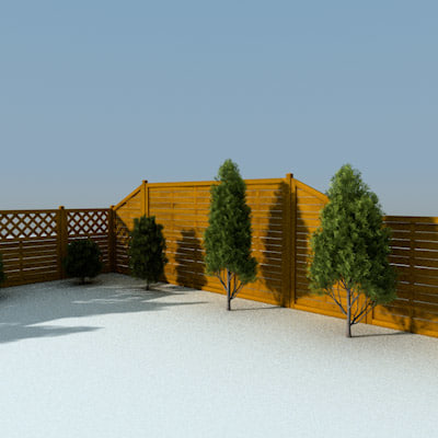 3d model fence decorate gardens