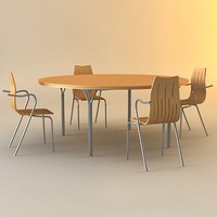 3d meeting table chair model
