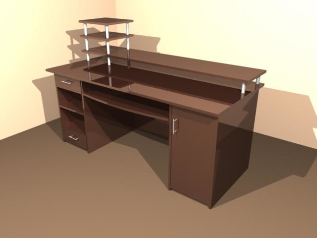 3d desk wood furnish model
