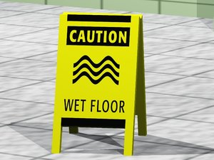 3d wet floor sign model