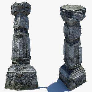 old damaged pillar 3d model