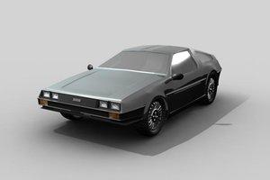 3d model delorean car