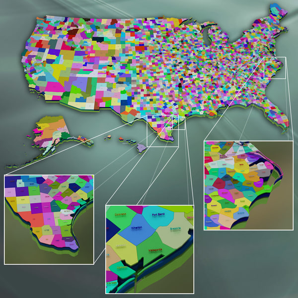 usa states counties 3d model