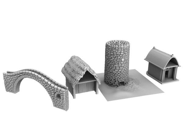 3d model greek buildings